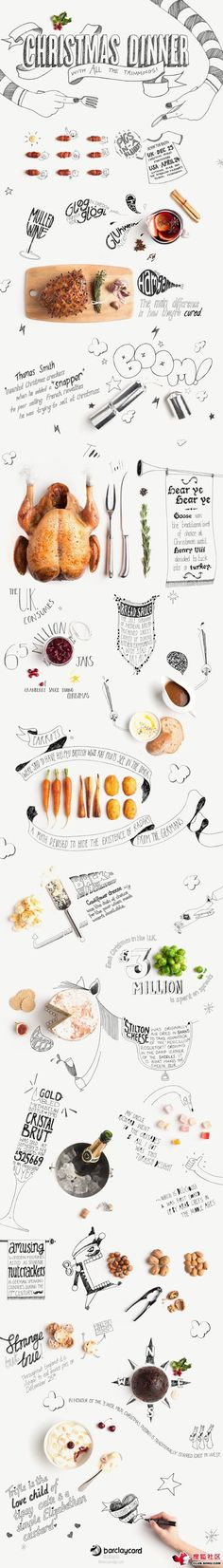 "Great idea to mix hand drawn or vector elements with images of food. Inspiration for Turkey Day? ""Planning a Feast?"""