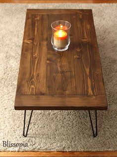 Planked Farmhouse Top Coffee Table with Hairpin Legs by Blissopia $215
