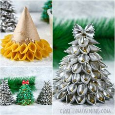 Make some fun pasta christmas trees with your kids this Christmas! Just roll a piece of cardboard into a cone then hot glue it together. Put a strip of hot glue around the bottom and quickly stick the noodles on! Once you're done spray paint it or have Cardboard Christmas Tree, Christmas Table Decorations, Christmas Crafts For Kids, Diy Christmas Ornaments, Christmas Projects, Kids Christmas, Holiday Crafts, Christmas Wreaths, Christmas Fayre Ideas