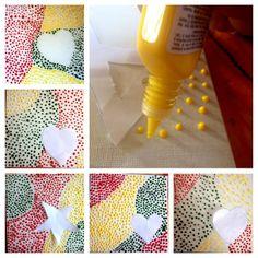 Tableaux coeurs ou étoiles réalisés avec de la peinture relief DIAM'S 3D appliquée en petites gouttes Origami, Scrapbooking, Oeuvre D'art, Crafts For Kids, Relief, Diy, Painting, 3d Painting, China Painting