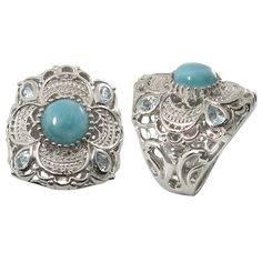 Fabulous Sterling Silver Larimar Ring by BluePlanetBeauty on Etsy Topaz Jewelry, Filigree Jewelry, Sterling Silver Filigree, Filigree Ring, Stone Jewelry, Jewelry Rings, Silver Jewellery, Blue Topaz Stone, Blue Topaz Ring