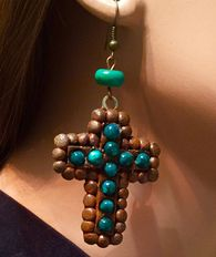 Small Rusted Resin Cross set with Turquoise, Fishhook ... www.maverickrose.com