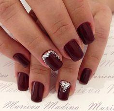 Dark red burgundy nails with Swarovski crystal accents