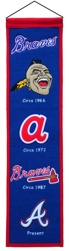 """- 70% Wool/ 30% Acrylic - Imported - One 32"""" x 8"""" MLB licensed wool banner chronicling the evolution of team logos over time. - A uniquely hand-crafted, vintage style, wool banner featuring intricate"""