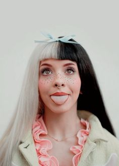 ☽Luna⟡Tusuna☾ Melanie Martinez, tongue out, septum ring, makeup freckles, classic black & blonde, pastel blue ribbon