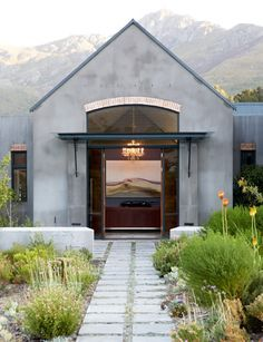 (Simon McCullagh Architects) Like the simple cape barn style, high glass with curved top. Modern Barn, Modern Farmhouse, Architecture Details, Modern Architecture, Vernacular Architecture, Exterior Design, Interior And Exterior, Exterior Paint, Future House