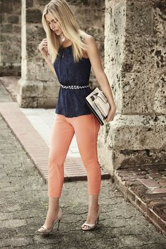 Don't go overboard on colour. Pair navy with pops of coral peach to really make a splash.