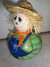New Handcrafted Gourd Scarecrow Fall/ Halloween Decor Halloween Gourds, Fall Halloween, Scare Crow, Light Bulb Crafts, Hand Painted Gourds, Holiday Fun, Holiday Decor, Halloween Decorations, Disney Characters