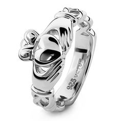 Unisex Sterling Silver UUS-6341 Claddagh Ring Silver Claddagh Ring, Claddagh Rings, Sterling Silver Rings, Diamond Hoop Earrings, Rose Gold Earrings, Vintage Engagement Rings, Vintage Rings, Heart Knot, Layered Necklaces Silver