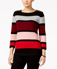 Karen Scott Striped Zip-Trim Sweater, Only at Macy's