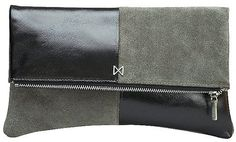 MOFE ESOTERIC Leather and Suede Dual-Texture Colorblock Foldover-Style Clutch