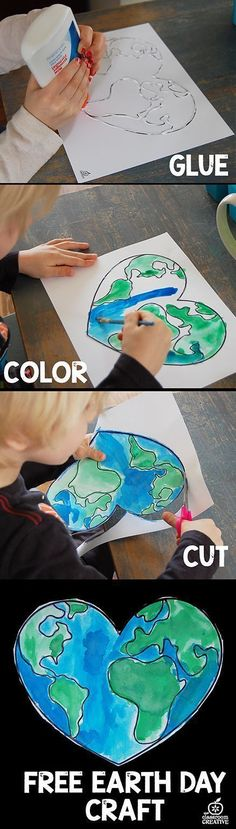earth day craft for kids. Fun classroom art activity. #earthday