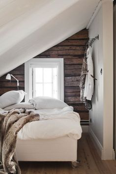 Check Out 39 Dreamy Attic Bedroom Design Ideas. An attic bedroom is usually associated with romance because it's great to get the necessary privacy. Slanted Wall Bedroom, Bedroom Wall, Slanted Walls, Bedroom Apartment, Home Bedroom, Teen Bedroom, Bedroom Ideas, My New Room, Dream Bedroom