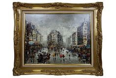 HOME DECOR – ART – PAINTING – OIL ON CANVAS – Paris Street Scene with Flatiron Building. Atmospheric oil painting of a busy Parisian street. The bright colors of the costumes as well as the striped awnings stand out against the predominantly gray background. Illegibly signed lower right and presented in a beautiful giltwood and gesso frame.