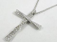 Auth DAMIANI 18K White Gold Diamond Cross Necklace Peandant Top