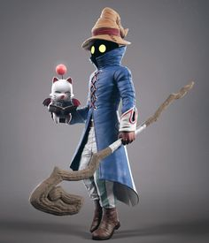 one of my favorite character in FF series Vivi & Moogle 3d Model Character, Character Modeling, Character Concept, Character Art, Concept Art, Character Design, 3d Modeling, Arte Final Fantasy, Final Fantasy Characters