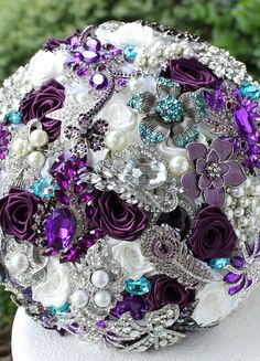 Teal and Purple Wedding Brooch Bouquet. Deposit on by annasinclair…