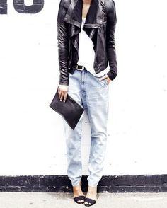 ღlechic   Rick Owens Leather Biker Jacket + Bassike Low Slung Jeans + Givenchy Clutch + Zara heels