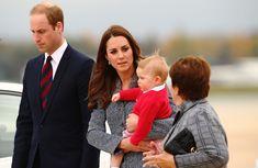 Kate Middleton Catherine, Duchess of Cambridge, Prince William, Duke of Cambridge and Prince George of Cambridge leave Fairbairne Airbase as...