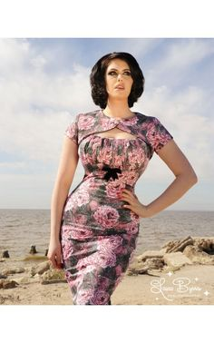 9c02c249afbd Sexy 50's style wiggle dress with gathered bust and removable bolero shrug  in vintage rose print