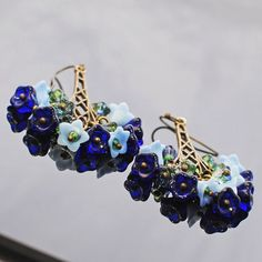 Blues Flower Chandelier Earrings That's Why They by LavenderRabbit, $15.00
