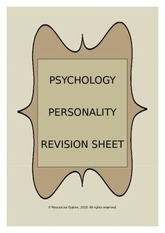 An excellent product which covers 33 important concepts in Personality Psychology! This revision sheet works great preparing students for the exams. The answer key is also provided so that you can just print and go!!Check out more quality, ready-to-use resources:More from Resources GaloreFollow me on:PinterestCLICK on the green FOLLOW ME button and be the first to know when new resources become available!Thank you for visiting my…
