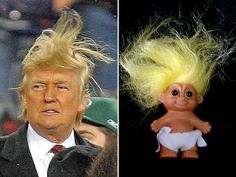 A collection of the funniest memes and pictures skewering Republican presidential hopeful Donald Trump.: Donald Trump Looks Like a Troll Doll Satire, Donald Trump Hair, Memes Donald Trump, Trump Picture, Cool Pictures, Funny Pictures, Troll Dolls, Caricatures, Just For Laughs