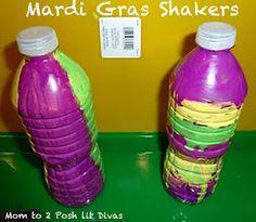 easy mardi gras bottle shaker or music maker craft for kids