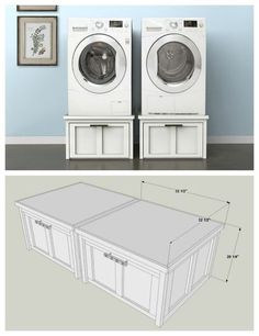 Diy Washer And Dryer Pedestals With Storage Drawers Find The Free Plans For This