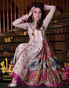 Frock Dresses Designs Stylish 2014 by Jannat Nazir