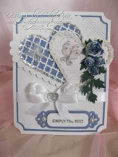 Flowers, Ribbons and Pearls: Cornflower Blue . Wedding Cards Handmade, Greeting Cards Handmade, Love Cards, Diy Cards, Shabby Chic Cards, Spellbinders Cards, Wedding Anniversary Cards, Heart Cards, Scrapbook Cards