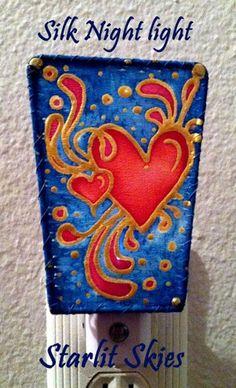 Heart Silk Night Light, 'Valentines Day Love', By Cyn Mc | StarlitSkies - Housewares on ArtFire