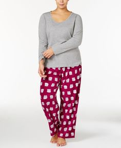 Jenni by Jennifer Moore Plus Size Knit Top and Printed Fleece Pants Pajama Set, Only at Macy's