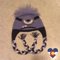 Crochet Despicable Me evil purple minion hat