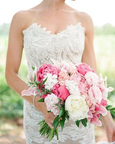 """""""I wanted stargazer lilies and peonies because they are my moms favorite flowers. Hydrangeas magnolias and gardenias were incorporated because both my grandmothers and my mom carried them in their bouquets."""" The bouquet was only one of many meaningful details at Maggie and Travis' wedding--see their day on #SouthernWeddings! Link in profile. By @GracieBluePhotography planning by @AlexMeyerEvents bride's gown by Anna Maier bouquet by @PaletteOfPetals. by southernweddings"""