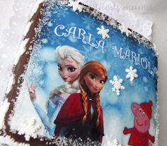 Tarta de chocolate personalizada con Frozen y Peppa Pig. www.facebook.com/ideasmama