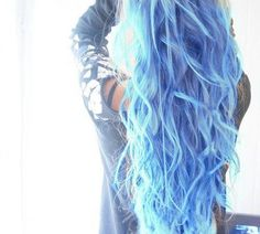 Long Blue Wavy Hair hair colorful blue color style dye trend