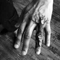 Finger Tree Roots Tattoo On Male