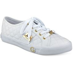 G by Guess Byrone Quilted Lace-Up Sneakers (171.775 COP) ❤ liked on Polyvore featuring shoes, sneakers, white, laced sneakers, g by guess shoes, g by guess sneakers, quilted sneakers and white shoes