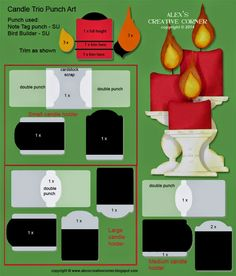 Alex's Creative Corner: Christmas Candle Trio punch art instructions (note tag punch)