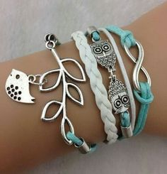 Shop Women's Silver Blue size OS Bracelets at a discounted price at Poshmark. Description: Trendy owls and lucky branch, leaf and lovely bird charm bracelet! Silver and leather! Sold by dolmir. Cute Jewelry, Jewlery, Owl Jewelry, Leaf Jewelry, Etsy Jewelry, Fashion Bracelets, Fashion Jewelry, Jewelry Bracelets, Infinity Bracelets