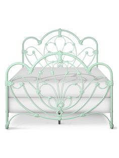 Delphine Queen Bed, Solid Mint Green, Front View