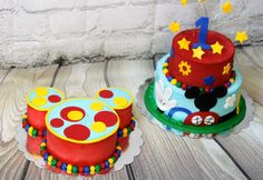Mickey mouse clubhouse cake and smash cake for a first birthday party by Sugar Chic Custom Cakes