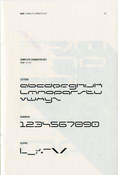 Complete character set of the BASE typeface by Milan-based designer Franco Cervi