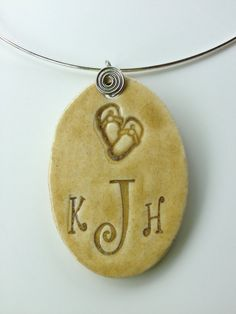 Ceramic Jewelry  Flip Flops Monogramed Ceramic by kimjustice, $30.00