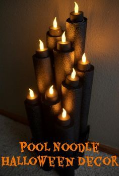 I never thought pool noodles could look so spooky! This DIY tutorial teaches you how to make flameless Halloween candles out of pool noodles! Easy Halloween Decorations, Halloween Candles, Halloween Party Decor, Holidays Halloween, Halloween Crafts, Halloween 2020, Haunted Halloween, Pool Decorations, Party Decoration