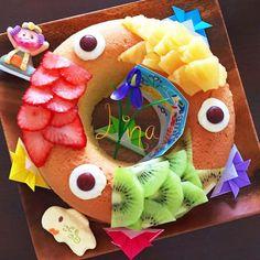 ☆こどもの日☆♪鯉のぼりリングケーキ♪☆ Children's Day Japan, Japanese Rice, Child Day, Bento, Food Art, Watermelon, Birthday Cake, Sweets, Kawaii