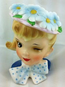 Vintage Lady Headvase - Winking Girl With Floral Hat and Ponytail - Made in Japan
