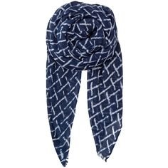 Becksondergaard Kennedia Silk Mix Scarf - Classic Navy (4.960 RUB) ❤ liked on Polyvore featuring accessories, scarves, classic navy, zig zag scarves, navy blue shawl, navy blue scarves, navy shawl and pure silk scarves