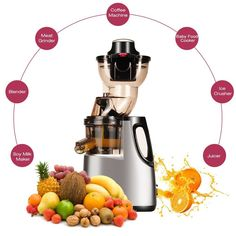 Slow Masticating Juicer Jese Cold Press Juice Extractor Wide Chute Countertop Juicer -- See this great product. (This is an affiliate link) Centrifugal Juicer, Cold Press Juicer, Juice Extractor, Vegetable Salad, Cool Kitchens, Healthy Life, Juicers, Fruit